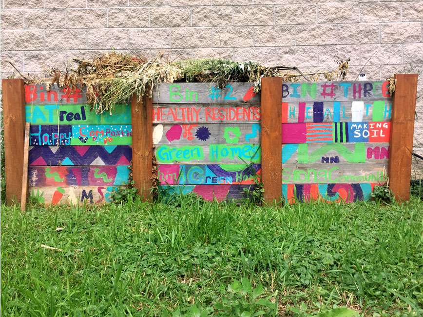 colorful compost bins