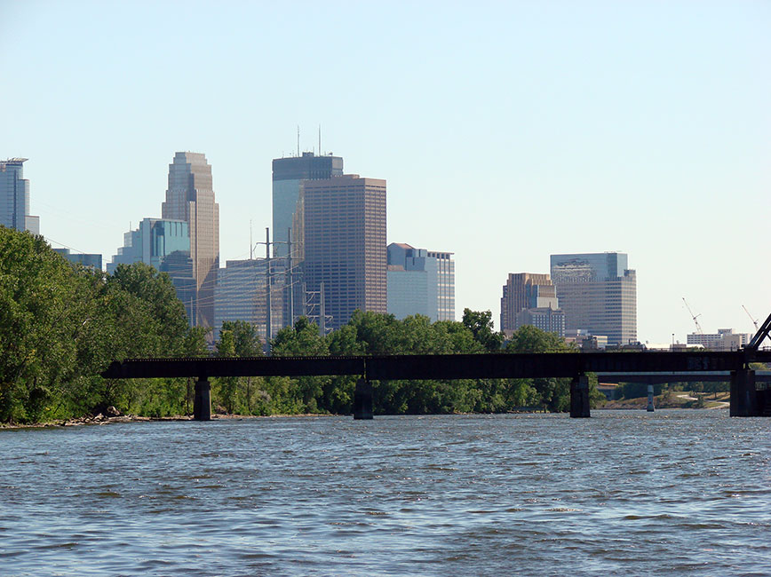 Mississippi River and skyline from North Minneapolis