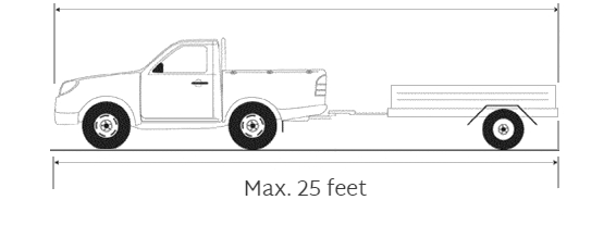 diagram of pickup truck with trailer totaling 25 feet in length