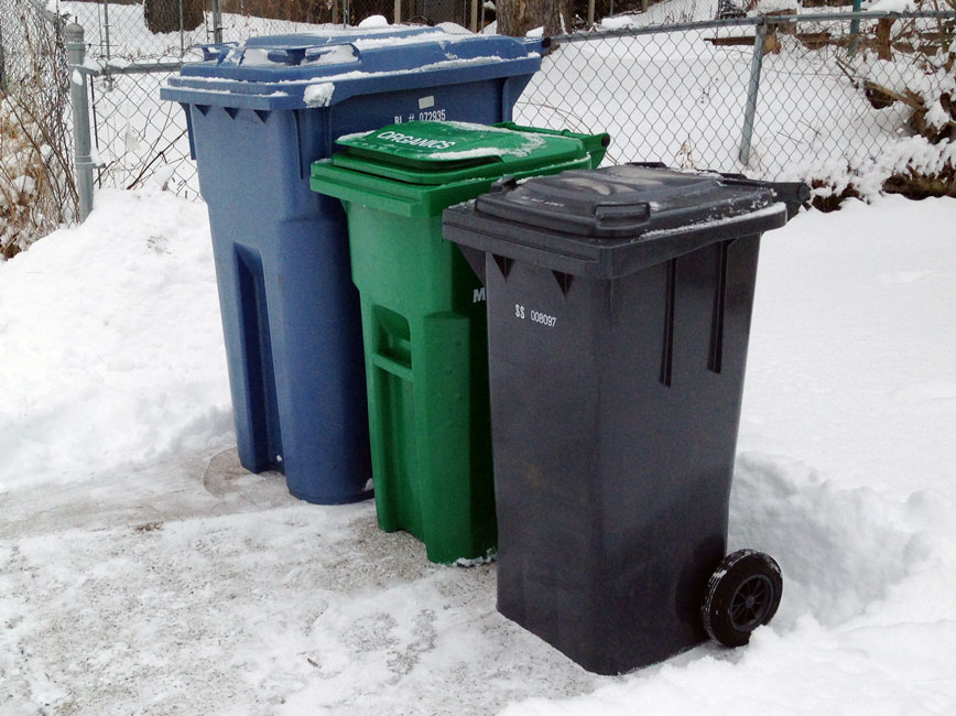 How to shovel around your recycling and garbage carts