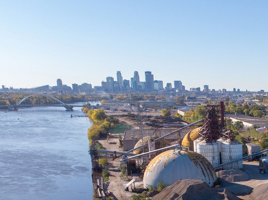Upper Harbor Terminal and Minneapolis skyline