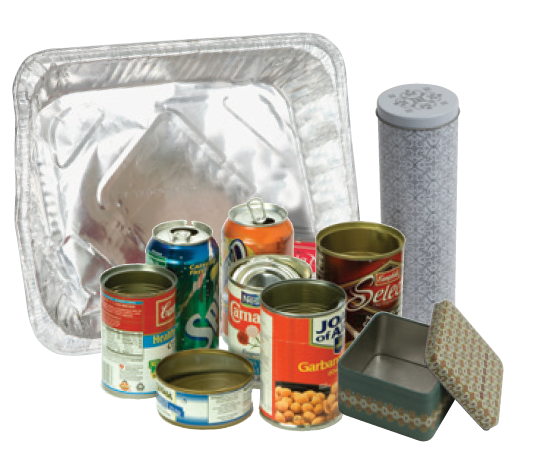 pop cans, soup containers, decorative tins, and pie tin