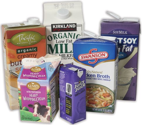 Recyclable cartons like cream, broth, and juice.