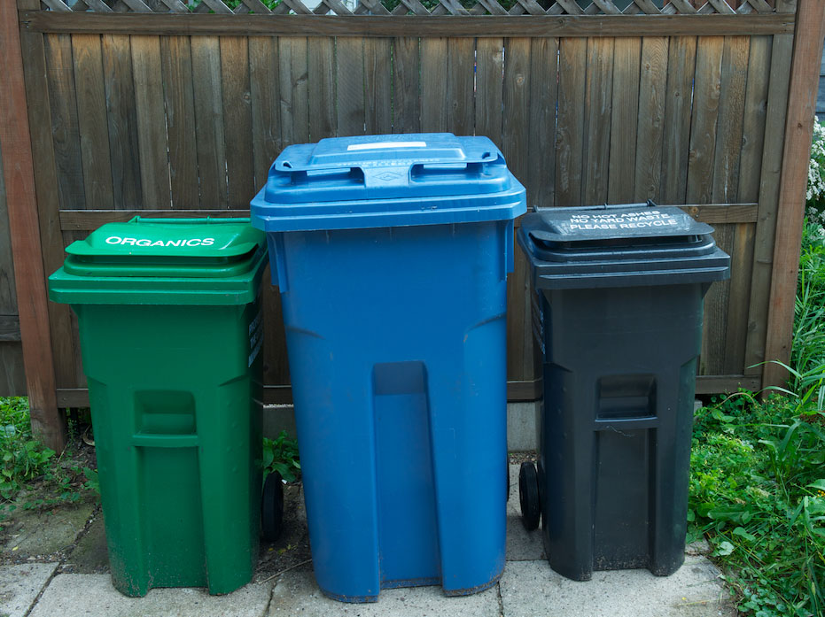 garbage, recycling and organics carts
